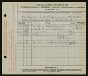 Entry card for Schoenberger, Edward William for the 1931 May Show.
