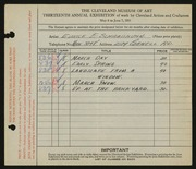 Entry card for Schraishuhn, Eunice E. for the 1931 May Show.