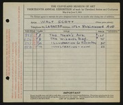 Entry card for Scott, Walter E. for the 1931 May Show.