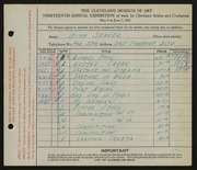 Entry card for Seaver, Hugh for the 1931 May Show.