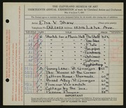 Entry card for Shaw, Elsa Vick for the 1931 May Show.