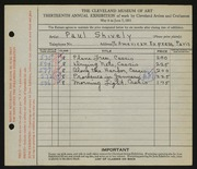 Entry card for Shively, Paul for the 1931 May Show.