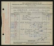 Entry card for Siebold, Chester for the 1931 May Show.