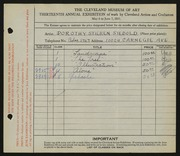 Entry card for Siebold, Dorothy Stieren for the 1931 May Show.