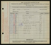 Entry card for Silberger, Manuel G. for the 1931 May Show.