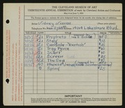 Entry card for Simon, Sidney for the 1931 May Show.