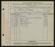 Entry card for Sloan, Allan E. for the 1931 May Show.