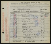 Entry card for Sommer, William for the 1931 May Show.