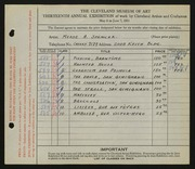 Entry card for Spencer, Meade A. (Meade Ashley) for the 1931 May Show.