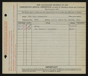 Entry card for Sponseller, Ona Cole for the 1931 May Show.