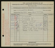 Entry card for Stern, Leonard X. for the 1931 May Show.