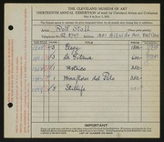Entry card for Stoll, Rolf for the 1931 May Show.