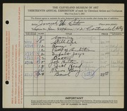 Entry card for Suto, Joseph for the 1931 May Show.