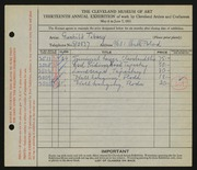 Entry card for Tiberg, Gunhild for the 1931 May Show.
