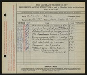 Entry card for Tiberg, Wiktor for the 1931 May Show.
