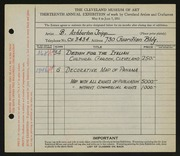 Entry card for Tripp, B. Ashburton for the 1931 May Show.