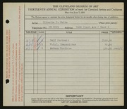 Entry card for Waltz, Olivette K. for the 1931 May Show.