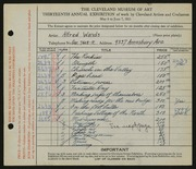 Entry card for Wands, Alfred J. for the 1931 May Show.