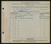Entry card for Weierich, Andrew Charles for the 1931 May Show.
