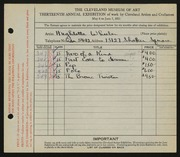 Entry card for Wheeler, Hughlette for the 1931 May Show.