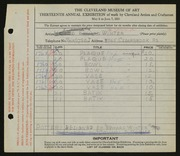 Entry card for Winter, H. Edward for the 1931 May Show.