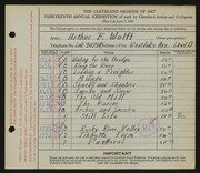 Entry card for Wolff, Arthur F. for the 1931 May Show.