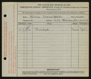 Entry card for Wolfs, Wilma Diena for the 1931 May Show.