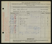 Entry card for Woodward, Olive for the 1931 May Show.
