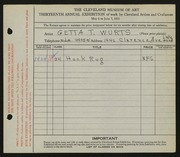 Entry card for Wurts, Getta T. for the 1931 May Show.