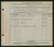 Entry card for Yingling, Anna Ruth for the 1931 May Show.