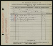 Entry card for Young, Albert Carl for the 1931 May Show.