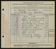 Entry card for Young, Jay Quinter for the 1931 May Show.