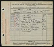 Entry card for Zak, Maxmillian for the 1931 May Show.