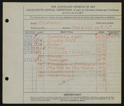 Entry card for Baker, F. C. for the 1932 May Show.