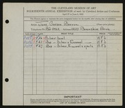 Entry card for Barron, Jane Carson for the 1932 May Show.
