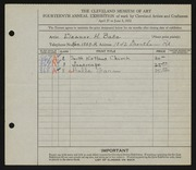 Entry card for Bate, Eleanor H. for the 1932 May Show.