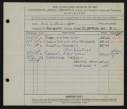 Entry card for Beckwith, Ada Bell for the 1932 May Show.