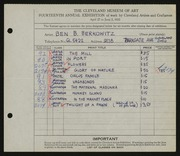 Entry card for Berkowitz, Benjamin B. for the 1932 May Show.