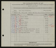 Entry card for Bettelheim, Jolan Gross for the 1932 May Show.
