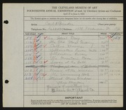 Entry card for Binder, Carl for the 1932 May Show.