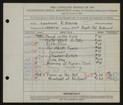 Entry card for Blazey, Lawrence for the 1932 May Show.