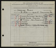 Entry card for Blazy, Sterling for the 1932 May Show.