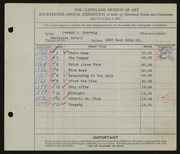 Entry card for Boersig, Joseph A. for the 1932 May Show.