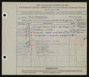 Entry card for Bogatay, Paul for the 1932 May Show.