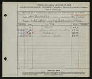 Entry card for Bookatz, Samuel for the 1932 May Show.
