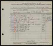Entry card for Boza, Daniel for the 1932 May Show.