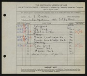 Entry card for Braddon, Charles Edwin for the 1932 May Show.