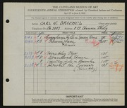Entry card for Broemel, Carl William for the 1932 May Show.