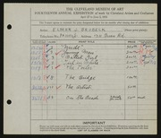 Entry card for Brubeck, Elmer J. for the 1932 May Show.