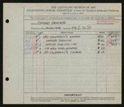 Entry card for Brucker, Edmund for the 1932 May Show.